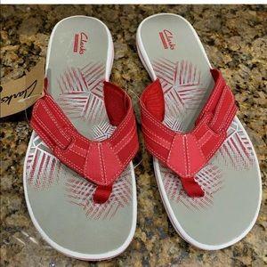 CLARKS Women's Brinkley Bree Flip Flop Sandal Red